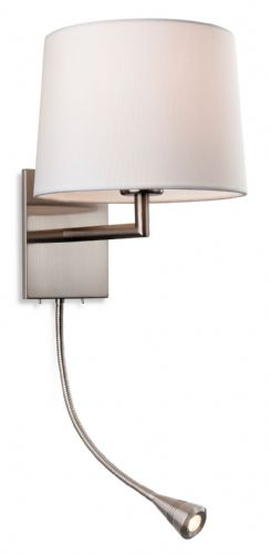 Grand 2 Light Wall (Switched), Brushed Steel with Cream Shade, 4936BS